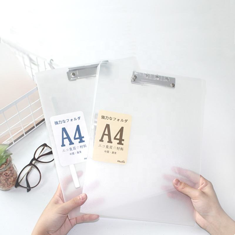 Document Protector New Products Stationery Clip File PP Material A4 Document Transparent Color Board Clip Document Protector