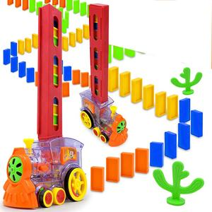 2020 Amazon Trending Educational intelligence colorful blocks happy truck train automatically laying dominioes game toy for kids