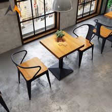 Durable modern metal black dining room furniture cafe chairs and tables