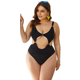 Hollow Out Solid Black Sexy V Neck One Piece Swimwear Plus Size Women Swimsuit