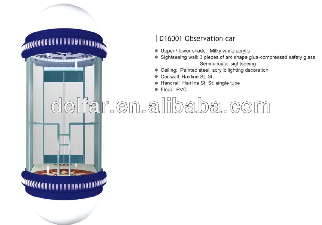 Round type stylish cabin and comfortable glass sightseeing elevator