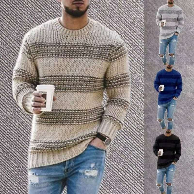 Fashionable striped knitted solid color pullover sweaters for mens