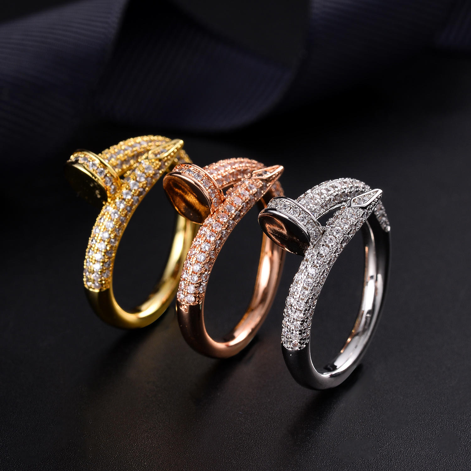 Wholesale fashion brass nail ring jewelry with cz stone for girls