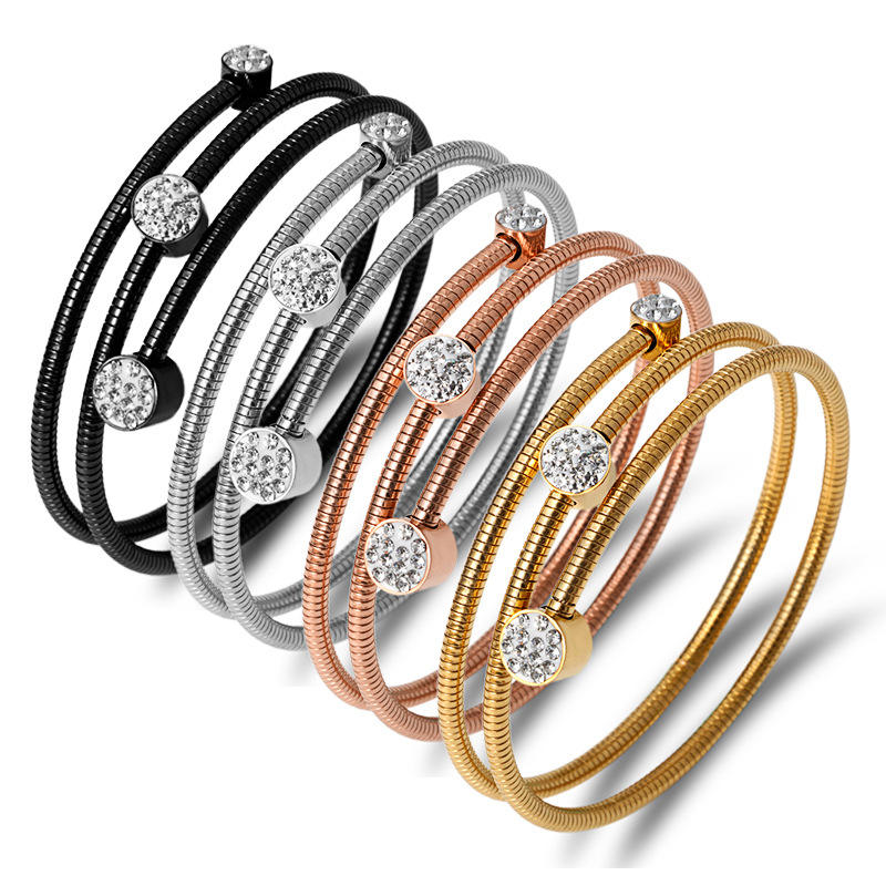MINHIN Factory Direct Supply Gold Plated Zircon Bracelet Stainless Steel Spiral Bangles Designs for Women