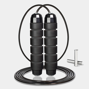 Professional Gym Adjustable Jumping Plastic PVC Speed Steel Wire Black adult Skipping Rope Jump Rope with weight