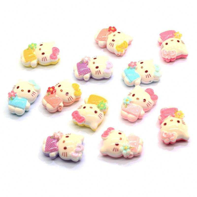 24MM Kawaii Resin Cat Cabochons Lovely Flatback Resin Animal Cat Cabs Slime Charms Jewelry Hair Decor Phone Case Decor Supply