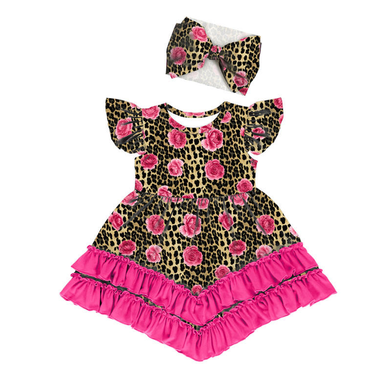 New patterns little girls dresses kids party 3 to 5 years girls leopard flower dress casual children dresses with match headband