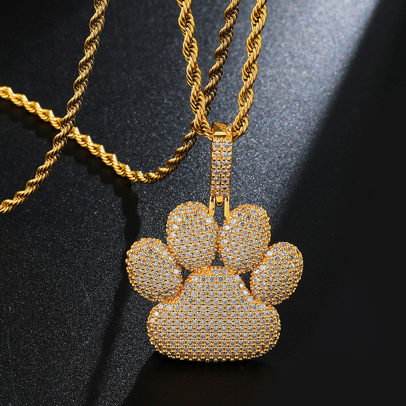 Cat Paw Pendant Sweet Pink Rainbow Cz bunte Full Iced Out Cubic Zirconia Hiphop Jewelry For Gift