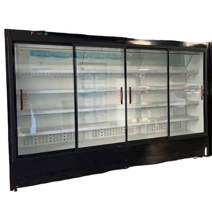 Supermarket dairy showcase chiller sandwich /bread and cake cold drink open display refrigerator