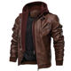 Zipper Brown Leather Jacket Male Wholesale Latest Design Hooded Motorcycle Bomber Leather Jacket