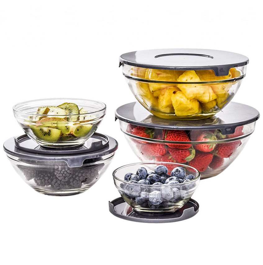 Large Capacity Glass Food Storage Soda Lime Glass Salad Bowl with PP Lid 5pcs Salad Bowls Set Plastic Lids