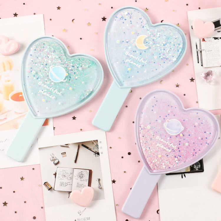 Beautiful quicksand handle mirror lovely girl heart ins students carry on cosmetology makeup hand mirror