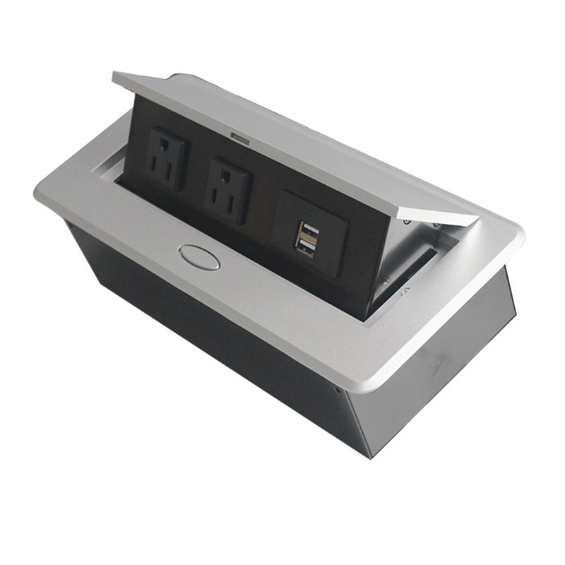 Gedempte Multimedia Outlet Connection Box Desktop Pop Up Socket Met Power En Usb Oplader Voor Conferentieruimte