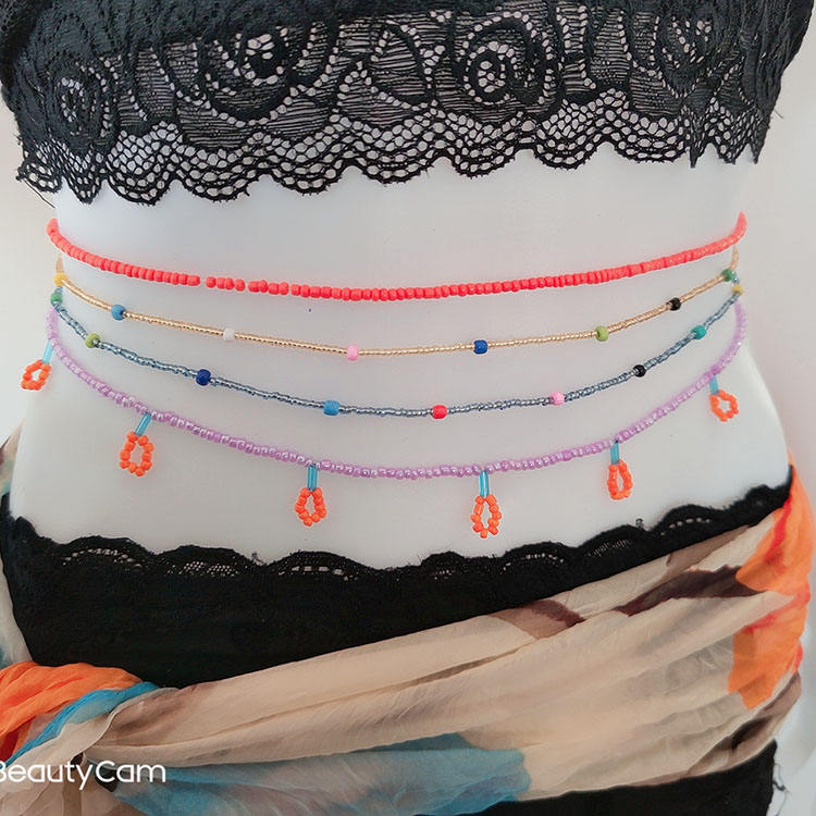 Bohemian Set Of 4 Pieces Stained Glass Beaded Body Accessories Stretch Sexy Belly Waist Beads Wholesale