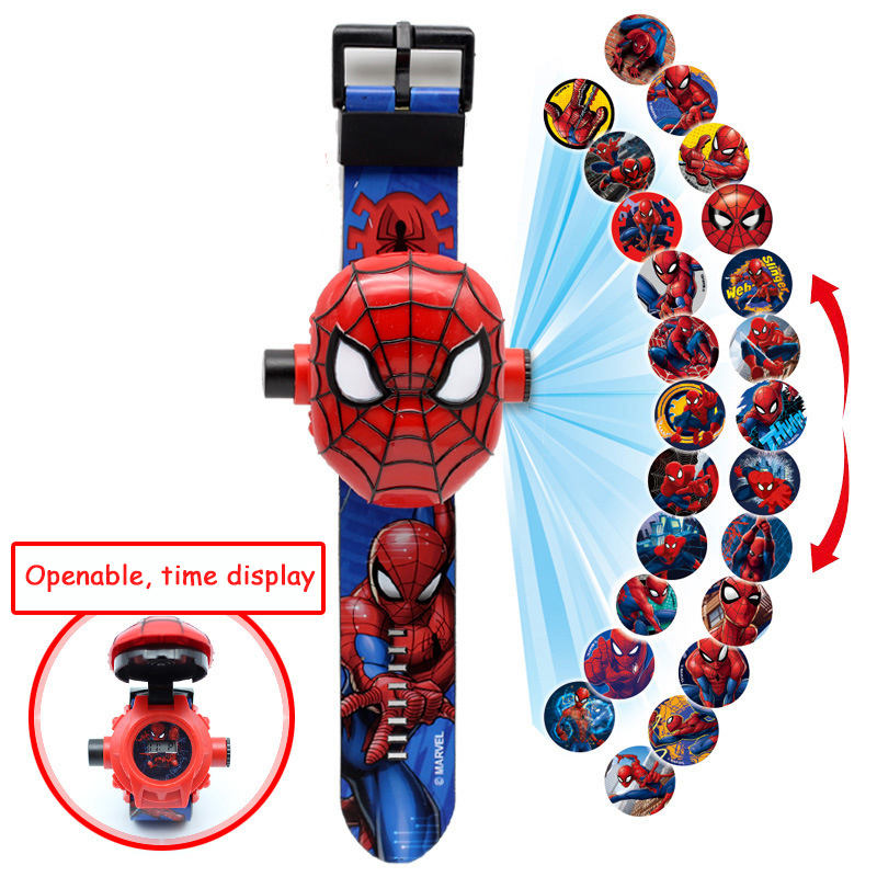 Princess Elsa Girls Watches Kids 3D Projection Cartoon Pattern Spiderman Children Watch Boys Digital Wristwatches Christmas Gift