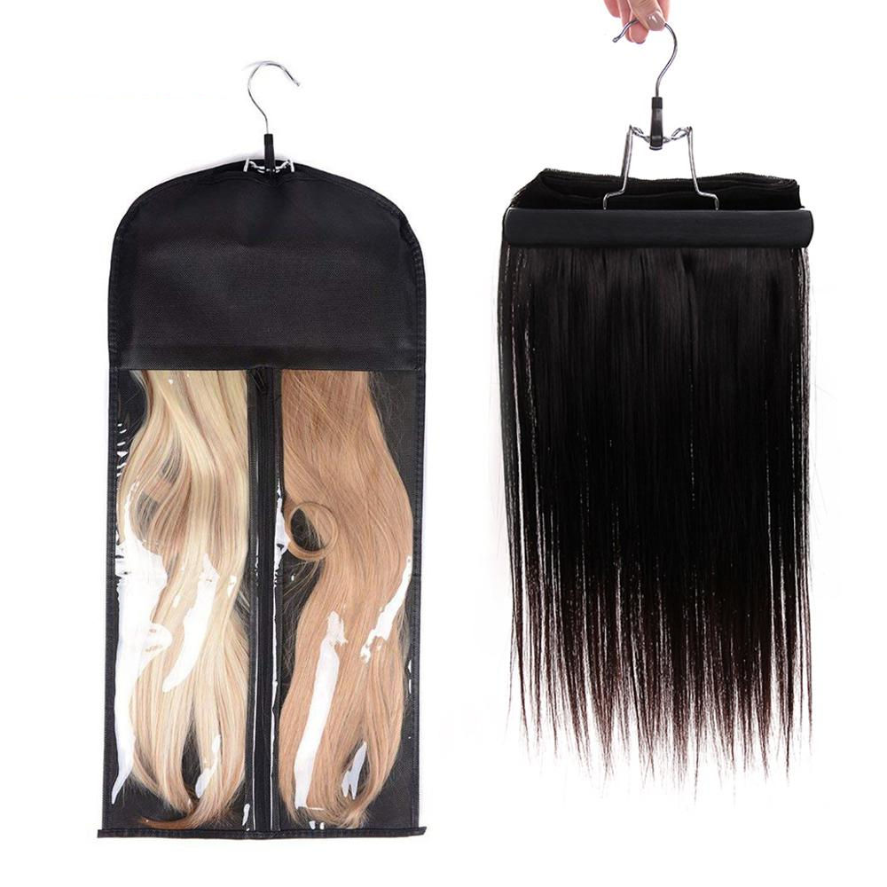 Custom Wig Hanger Hair Packaging Bags Non Woven Satin Wig Storage Bag with Hanger