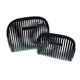 Fancy custom logo private label transparent black striped PVC cosmetic makeup bag