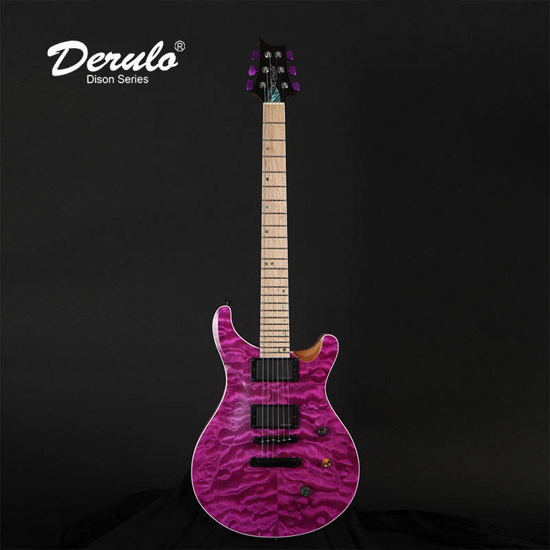 Derulo Electric Guitar 24 Frets OEM Custom High Quality Custom Quilted Maple Top 5Pieces Mahogany &Canada Maple Neck Customshop