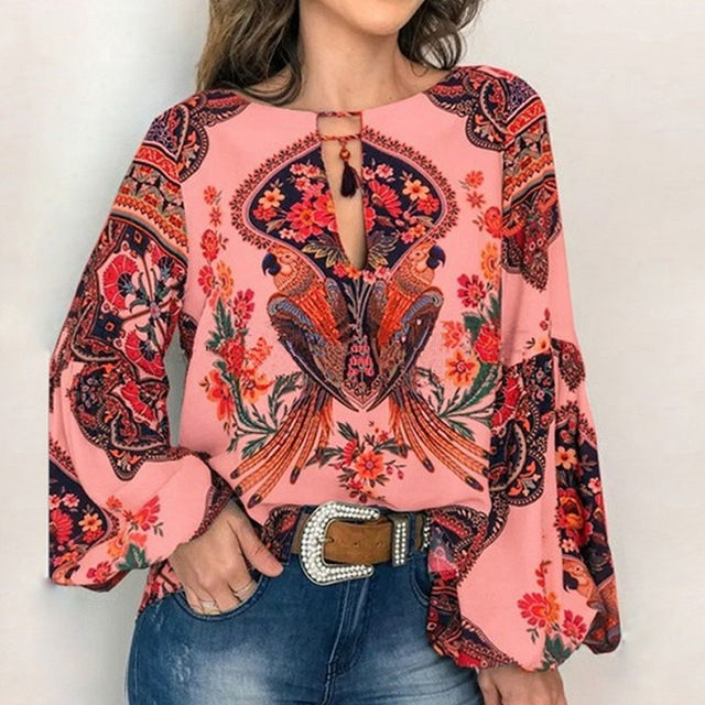 Fashion Lace-up O Neck Blouse Women Chic Tassel Shirt Boho Floral Print Lantern Sleeve Blouses Spring Summer Tops for Lady