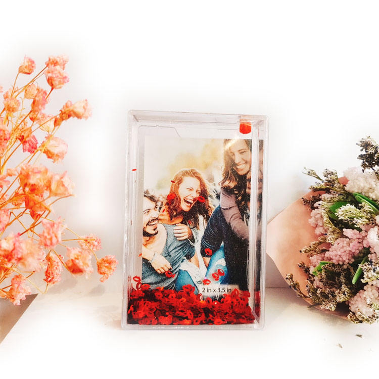 Factory direct Memory Recording 2.1x3.4 mini size instax liquid glitter picture photo frame with water