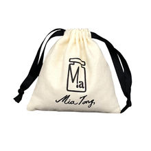 wholesale Custom print Organic soft Cotton Drawstring Pouch Draw String gift Bag with logo