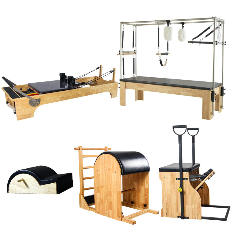 Factory price gym fitness studio equipment balance body yoga exercise 5 sets wooden pilates reformer