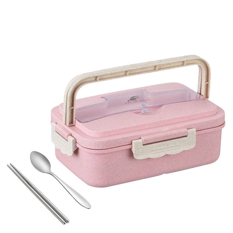 Biodegradable Compartment Leak Proof portable wheat straw bento lunch box with stainless steel cutlery set food storage for kids