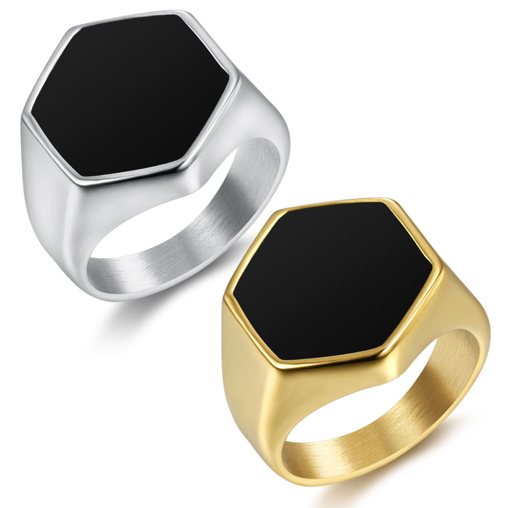 Fashion mens jewelry 316 stainless steel gold silver ring men black enamel silver rings
