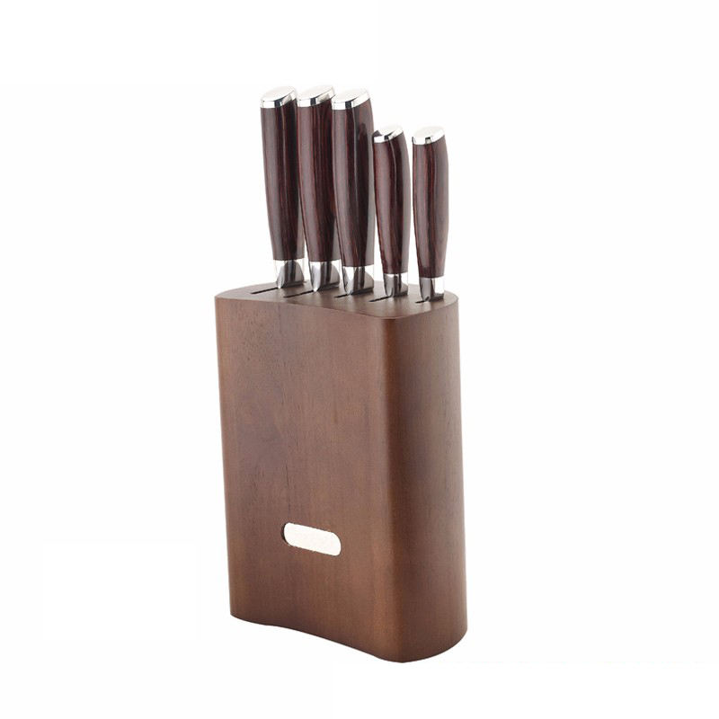 5pcs stainless steel kitchen knife set with wooden block