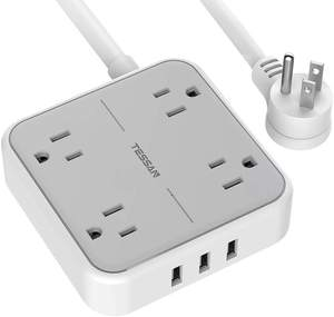 Tessan Portable Design Electric Plug Protection Extender Parts 4 Outlet USB Cable Cord Four Sockets Extension ETL