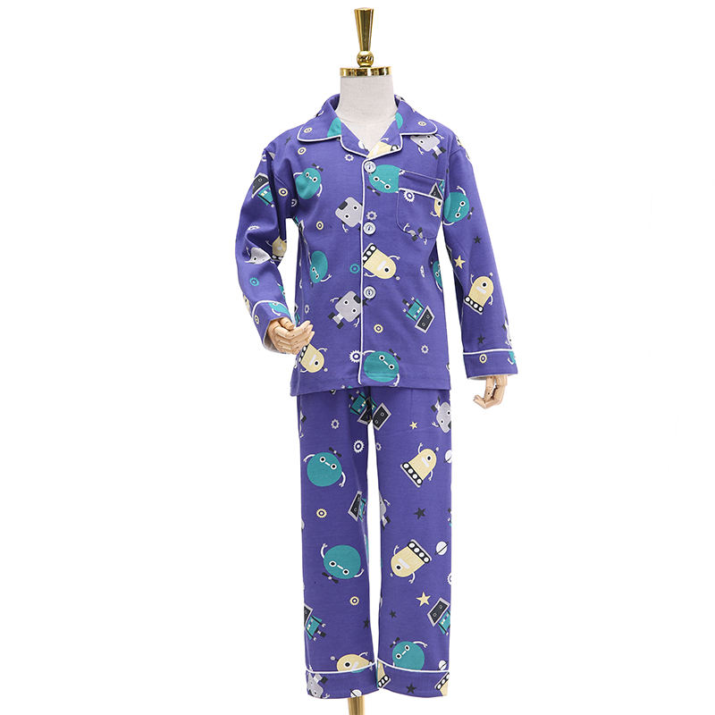 Winter mixed cartoon clothes 100% cotton set children kids pajamas