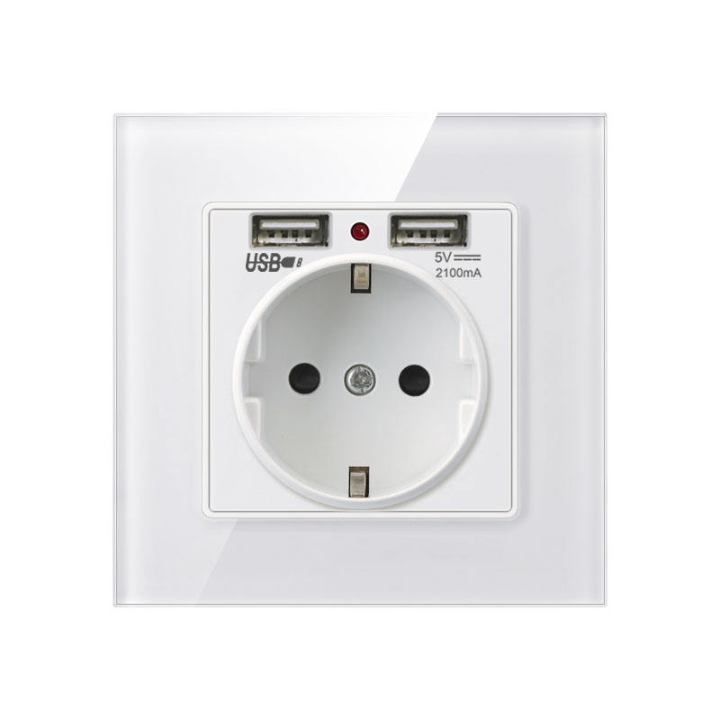 Euro Outlet 16A 250V Crystal Glass Panel EU German French Standard 2 USB Wall Socket