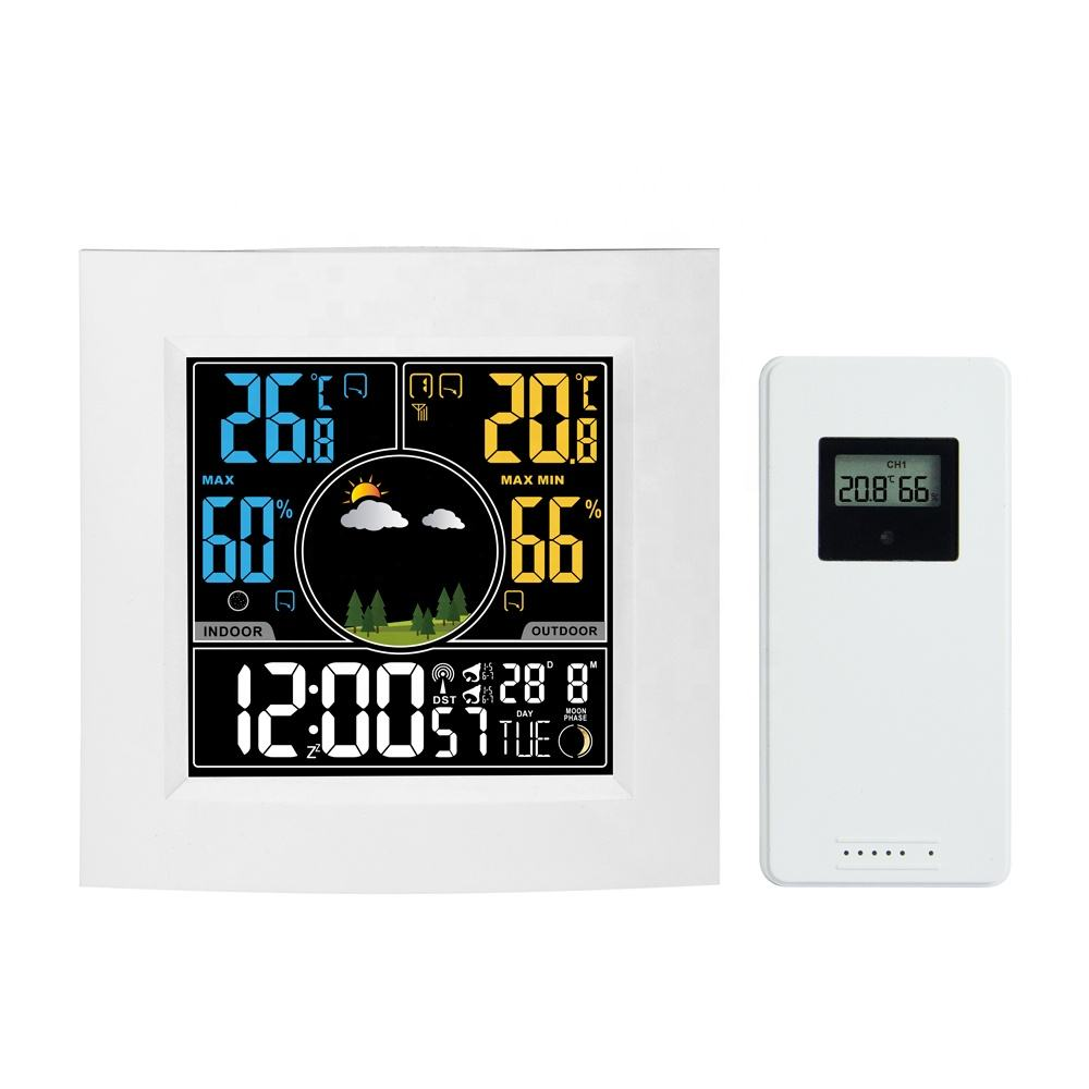 Weather Stations Wireless Indoor Outdoor Weather Forecast Station with Color LCD Display, DCF Wireless Digital Alarm Clock