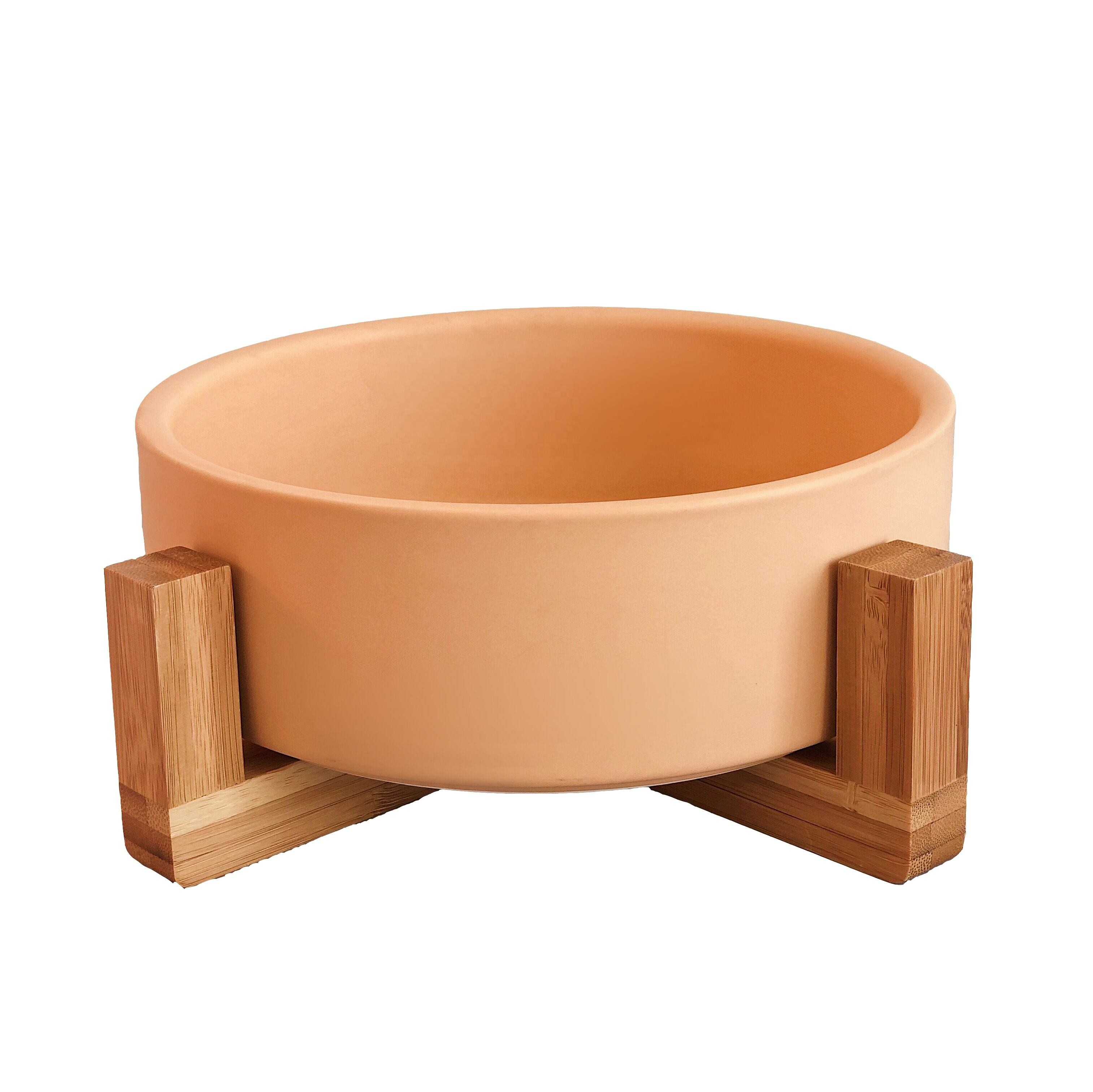 Wholesale custom matted elevated dog bowl non slip ceramic pet bowl with wooden stand