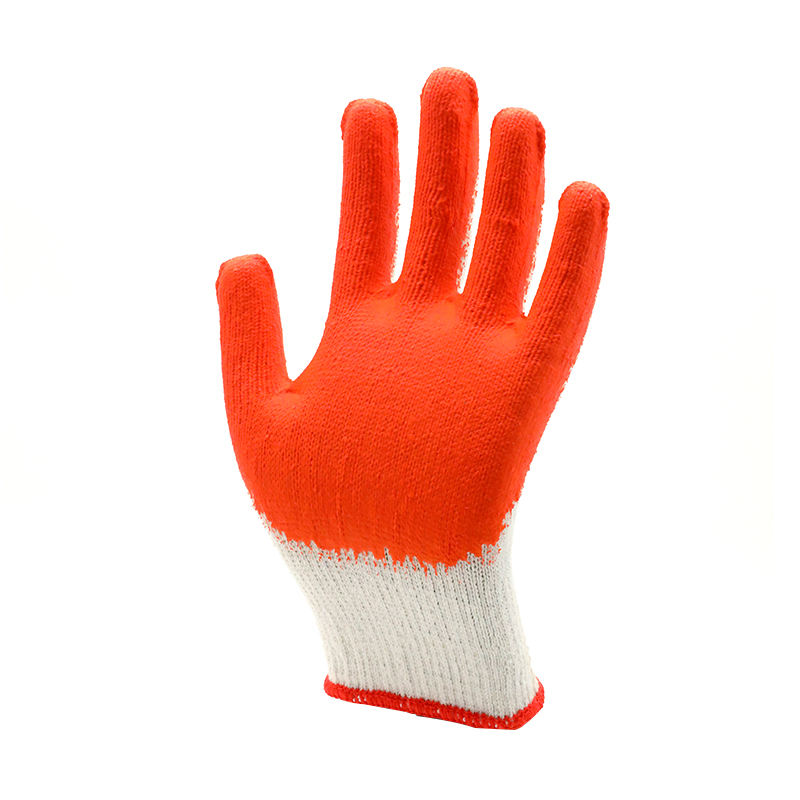 Cotton Knitted Liner Crinkle Latex Coated Grip Marine Fisherman Glove For Fishing