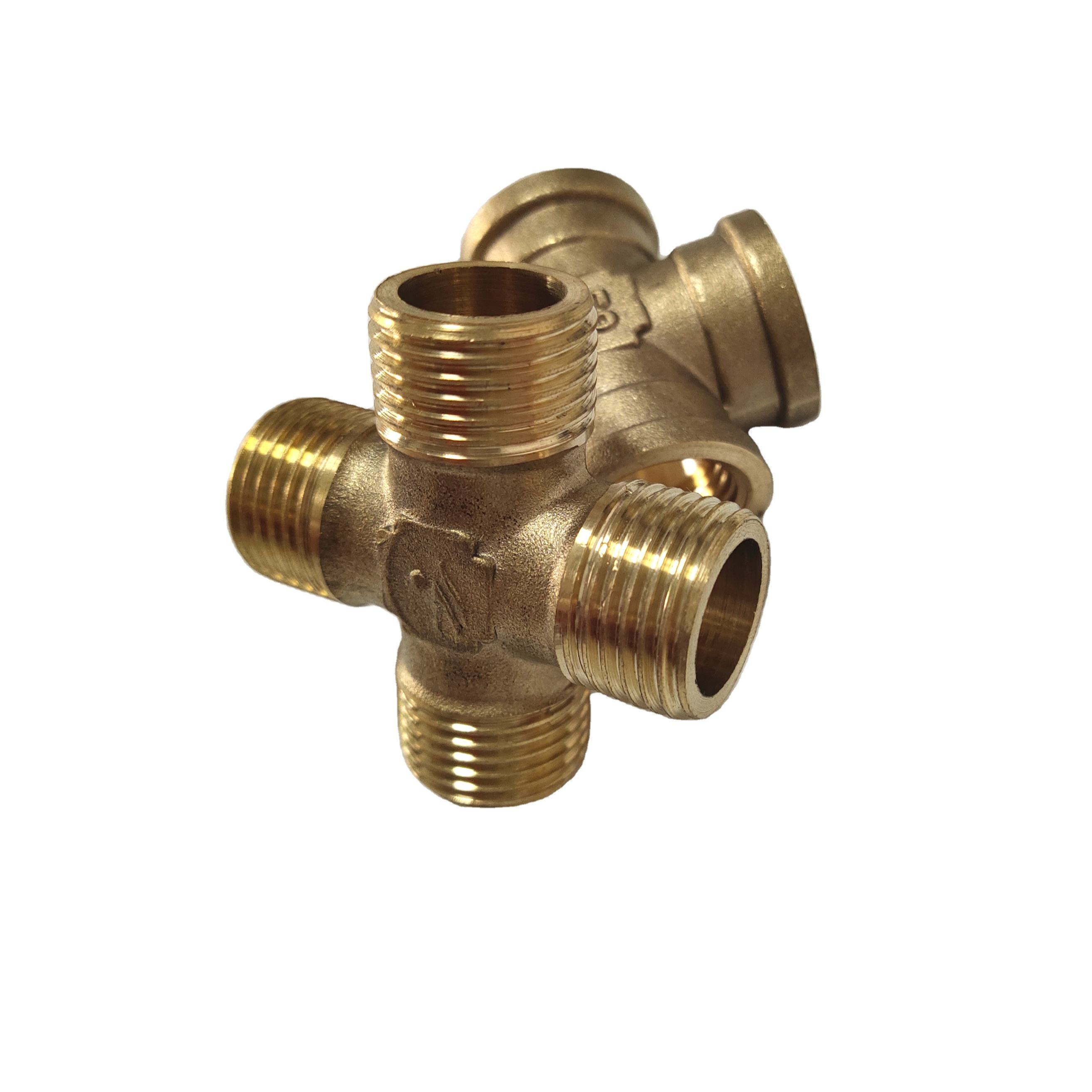 Pipe Fitting Brass Male Thread Cross Copper Four Ways Copper Fit