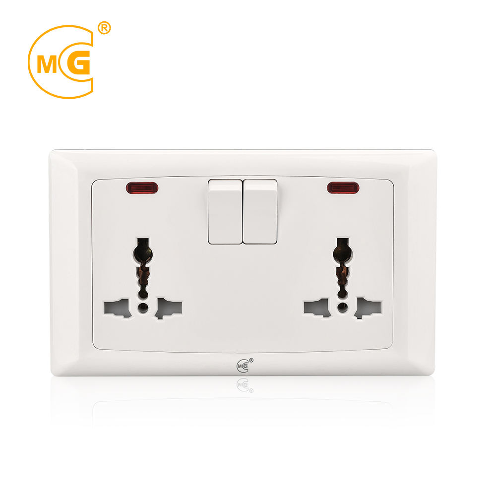 Good Quality UK 13A Multi Pin Electric Double Universal Wall Switched Socket With Neon