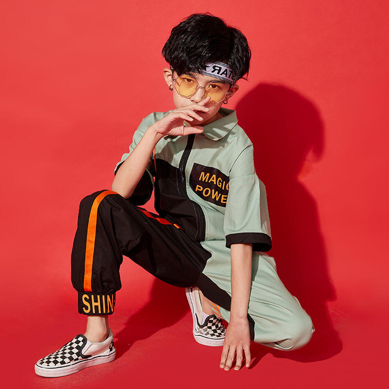 Fashion Sweatpants Boys Street Dancing Performance Costumes Short Sleeve Rompers Hip Hop Pants Trousers Boys children costume