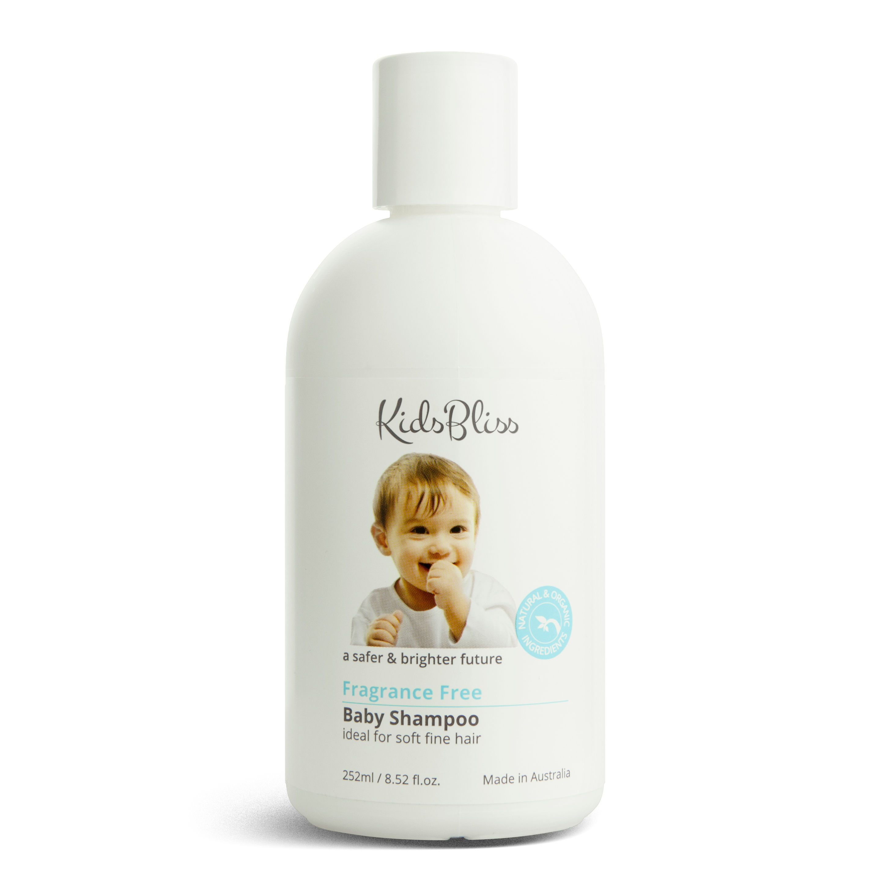 KidsBliss - Baby Shampoo - FRAGRANCE FREE - Australian Certified Organic (ACO) - 252ml - (Pure, Natural, Organic)