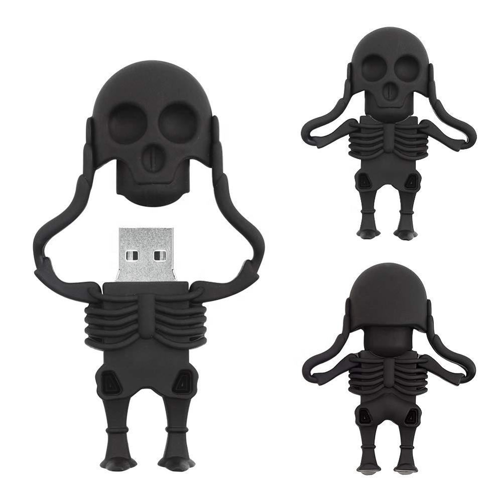 Factory interesting design cartoon skeleton shaped memory stick,amazing custom made cool pen drive 4gb 8gb mini usb stick 16gb