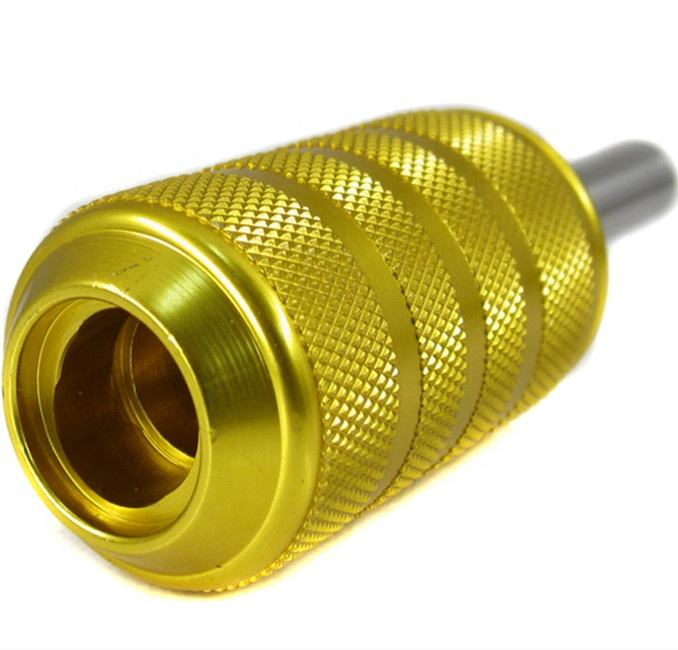 CNC turning custom gold plated knurled aluminum tattoo grips