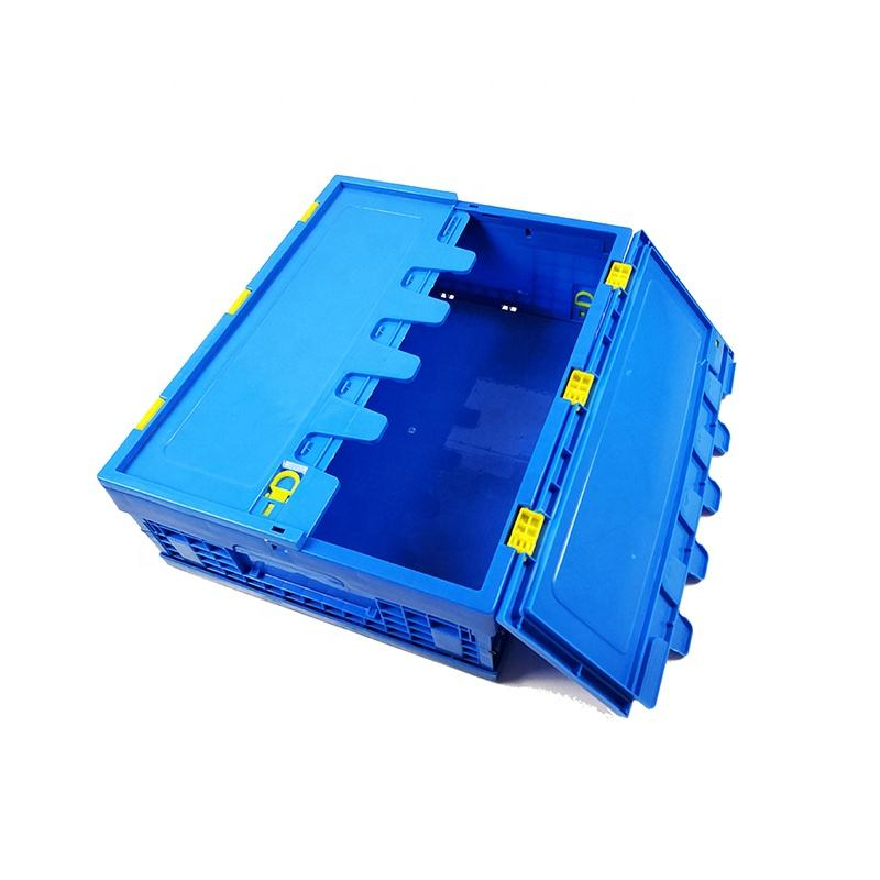 plastic crates folding stackable turnover box with lid plastic moving crate collapsible crate