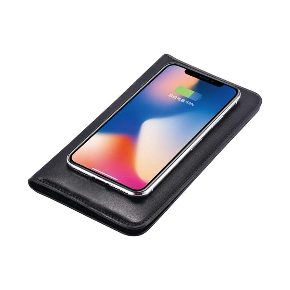 Best sell wireless charging 6800mah cheap leather wallet wholesale bifold wallet for man