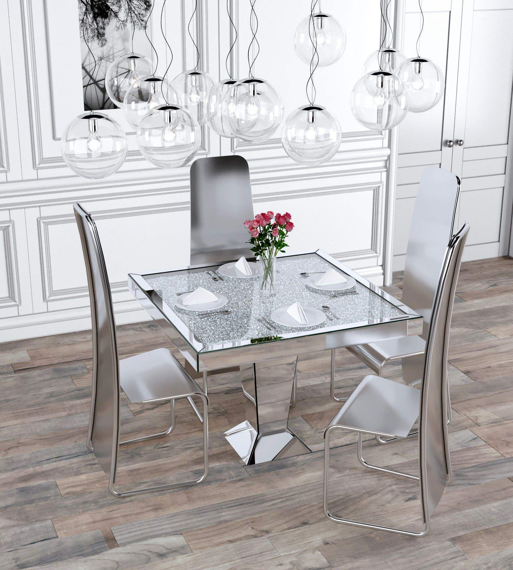 Sparkly crushed diamond dining table square shaped 4 peoples dining room furniture