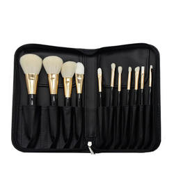 11pcs high quality ultra soft goat hair portable travel wear beauty makeup brush cover assembly makeup bag