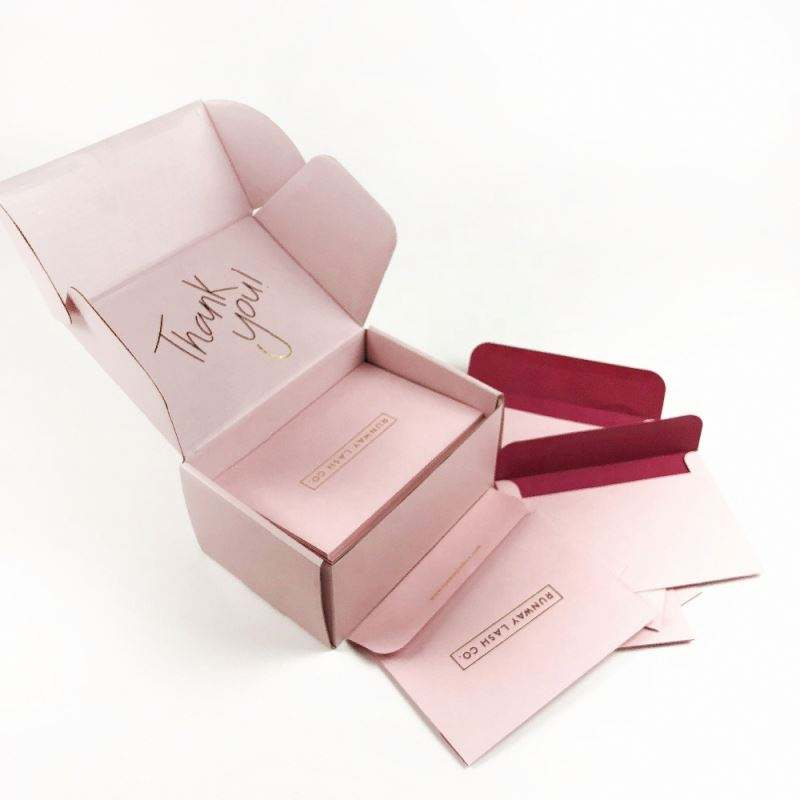 Free sample custom logo pink color cosmetic corrugated mail shipping box