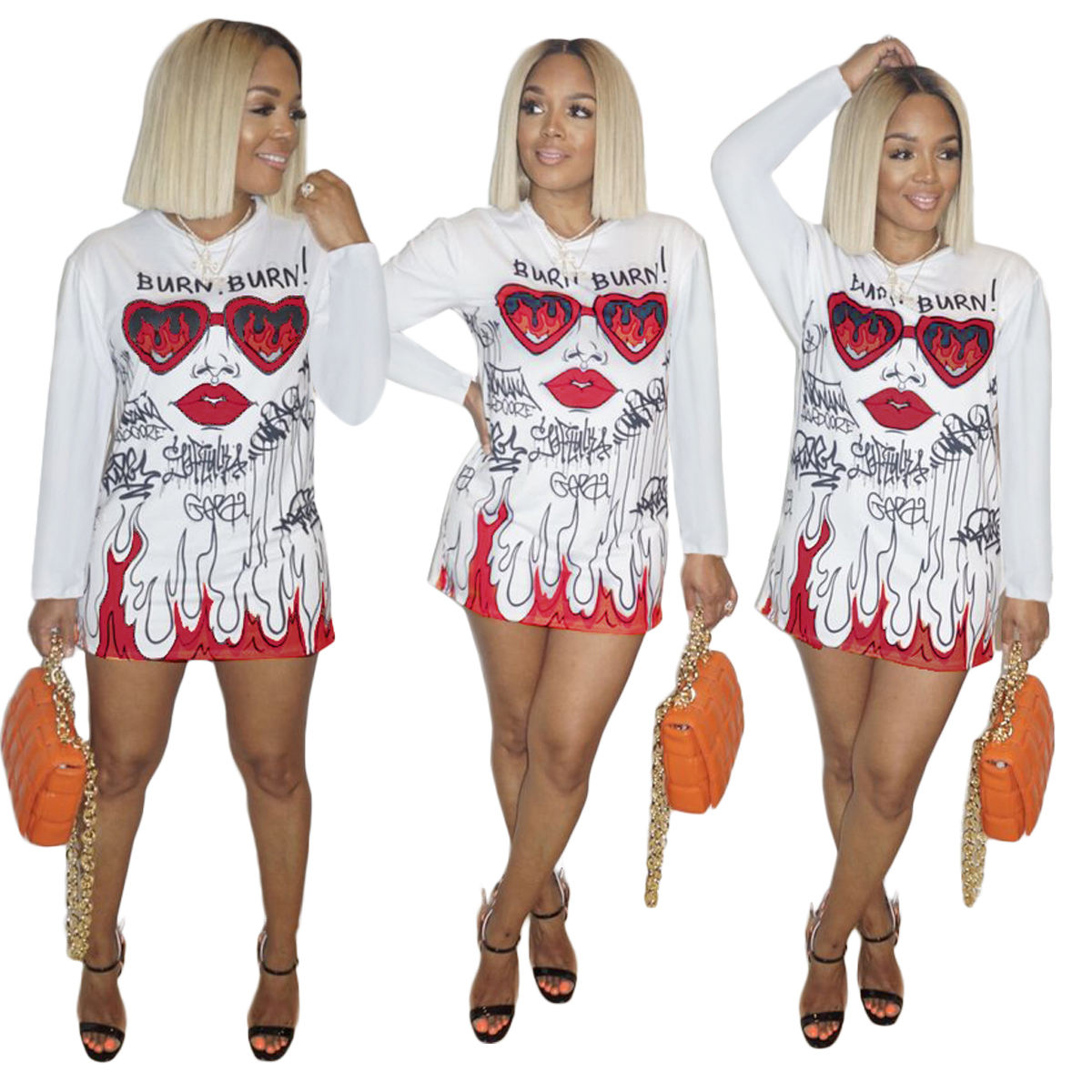ABgirl 2021 spring new casual school girl long sleeve white Alphabet graffiti red face print o neck T shirt middle dress skirt