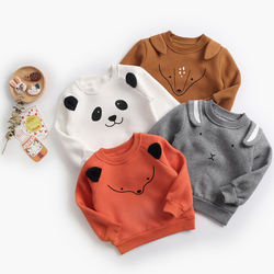 Winter thick animal pattern fleece sweatshirt baby cute tops outdoor outfit