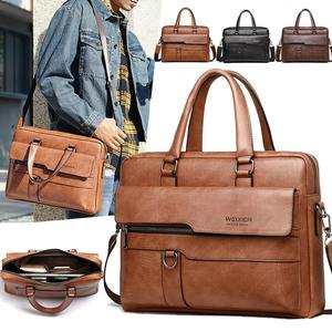 Bubm Heren Brown Briefcase Messenger Echte Pure Echt Lederen Laptoptas