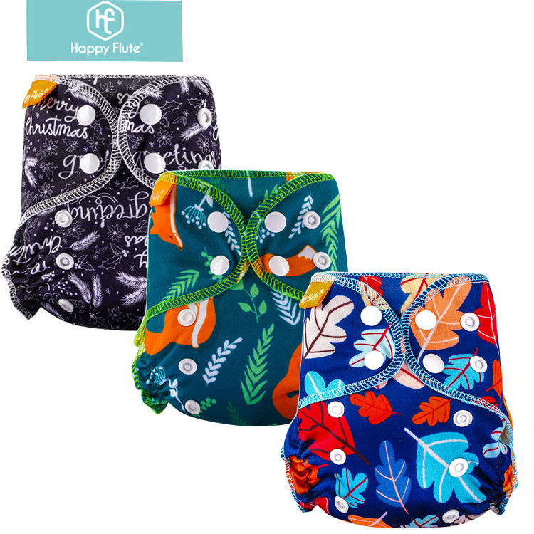 Happy Flute Organic Cotton Newborn Diapers AIO Cloth Diaper Printed Reusable Cloth Diaper